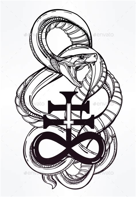 snake with satanic cross illustration by itskatjas