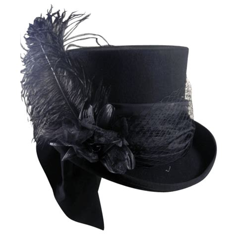 black felt womens mad hatter top hat mci 6566 by