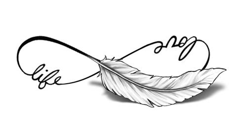 feather tattoo love life pols tattoo infinity faketattoo nl