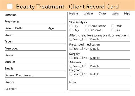 Hair Salon Client Consultation Card Template by Client Card Treatment Consultation Card Loyalty