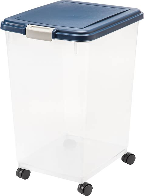 iris airtight pet food storage container clearnavy