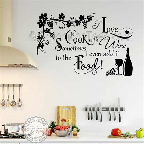Witzige Wandtattoos by Cook With Wine Kitchen Wall Sticker Kitchen Cooking