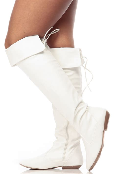 white faux leather the knee boots cicihot boots