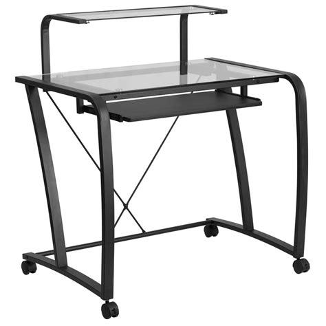 Flash Furniture Mobile Glass Computer Desk With Pull Out Glass Computer Desk With Keyboard Tray
