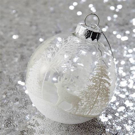 white forest clear christmas bauble by the christmas home