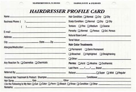 customer information card template hairdresser client profile cards pack of 100 refills only