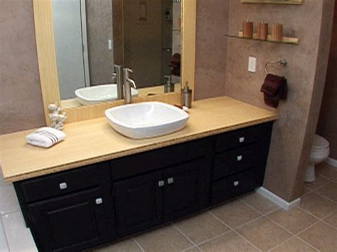 create a custom bamboo countertop in a bathroom