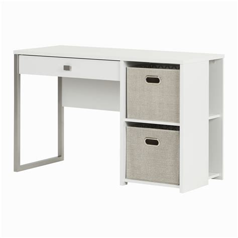 South Shore Interface Pure White Desk With Storage And Baskets White Desk Storage
