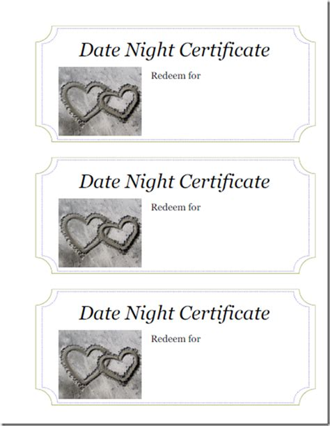 Date Gift Certificate Templates Making Your Significant Other S Holiday Brighter With A Date Night Themed Gift Day By Day In