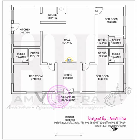 1600 square house with floor plan sketch kerala