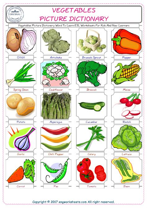 printable vegetable quiz vegetables picture dictionary word to learn esl worksheets