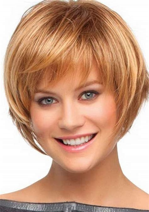 easy care hairstyles for thick hair woman short length layered hairstyles thin hair for round faces