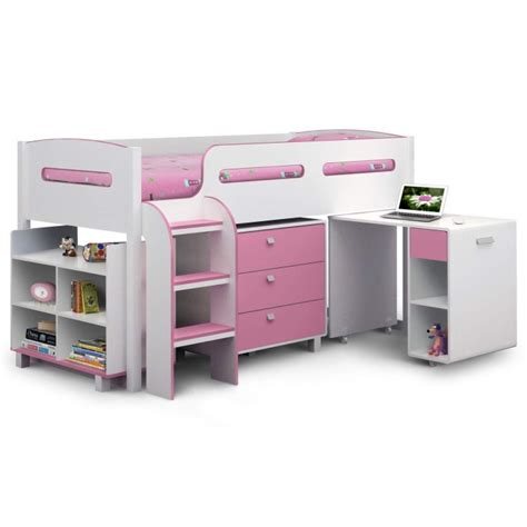 Bunk Bed Bookshelf Julian Bowen Kimbo Pink Cabin Bed With Pull Out Desk