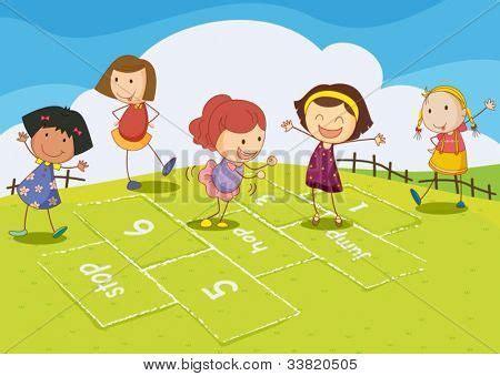 dibujos de niños jugando rayuela vectores y fotos en stock de ilustraci 243 n de ni 241 os jugando