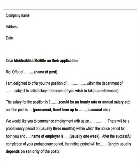 Offer Letter Probationary Period 42 Sle Offer Letter Template Free Premium Templates