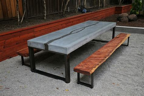 Concrete Patio Table And Benches Concrete Table Benches Modern Dining Sets San Francisco By 5 From The Moon