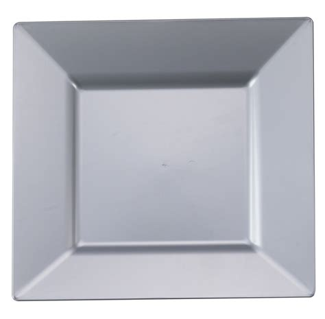 10 1 4 quot silver square dinner plastic plates 10ct
