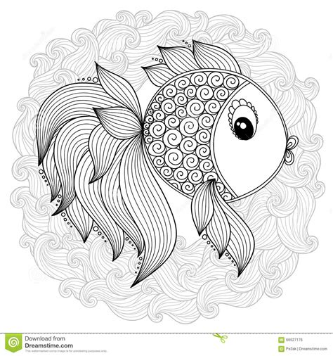 cute pattern colouring pages pattern for coloring book vector cute cartoon fish stock