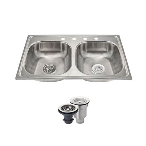 Mr Direct Kitchen Sinks Reviews Mr Direct All In One Drop In Stainless Steel 33 In 4 Basin Kitchen Sink Mx502t6 Ens