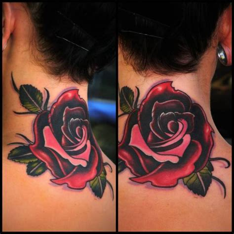 rose tattoo on back of neck 43 outstanding roses neck tattoos