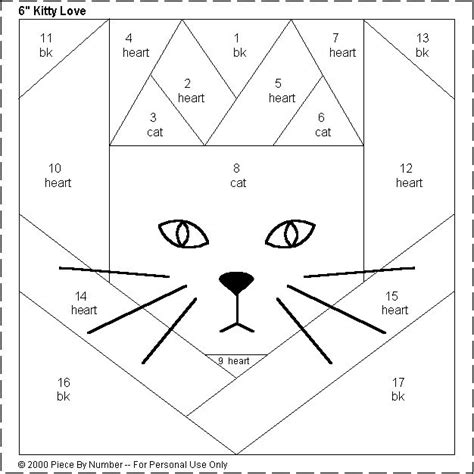 dress pattern block templates kitty love heart free paper piecing quilt block pattern