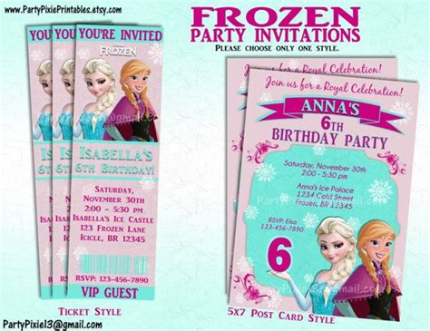 printable frozen birthday party invitations frozen birthday party invitations printable theruntime com