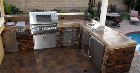 majestic outdoor steel cabinets kitchen   shape stone