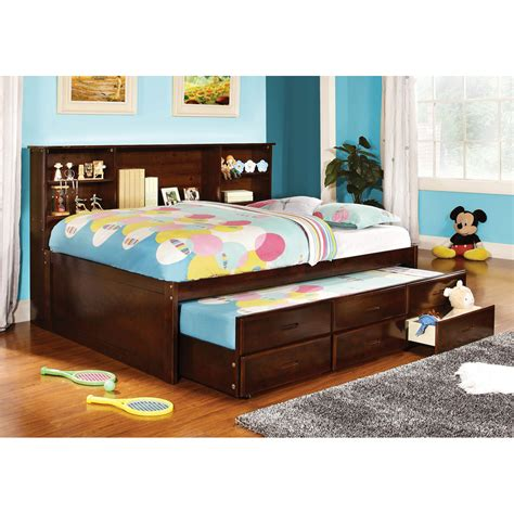 Platform Bed With Mattress Included Shop Furniture Of America Hardin Cherry Platform Bed With Storage And Trundle At Lowes
