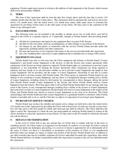 service maintenance agreement template maintenance service agreement form sle free