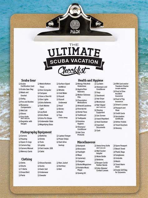 vacation checklist the ultimate scuba vacation packing list