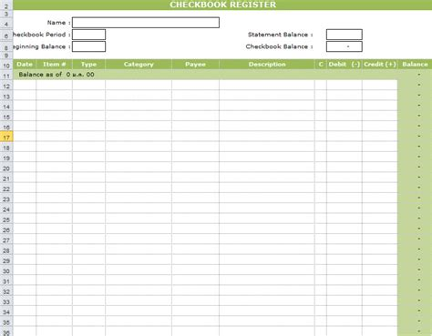 excel checkbook register template check register exle images