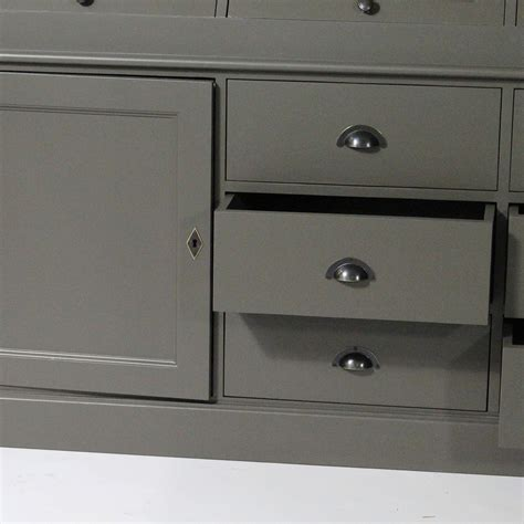 Bufet Indiana 1 5 Meter vaisselier gris fonc 233 6 portes 4 trappes vitr 233 es made in meubles