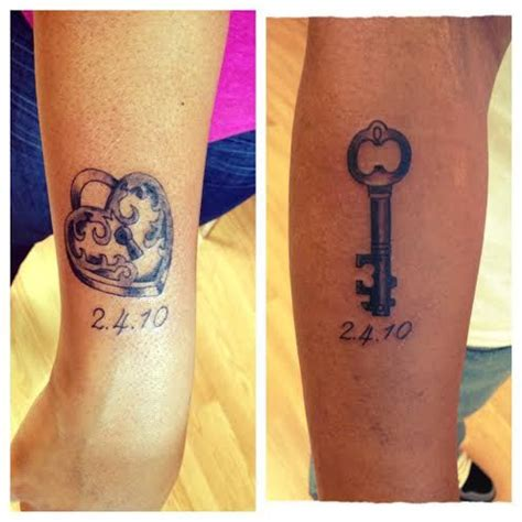 small his and her tattoos his and lock and key tattoos impulse ink