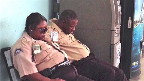 security guards caught sleeping on the job while on duty