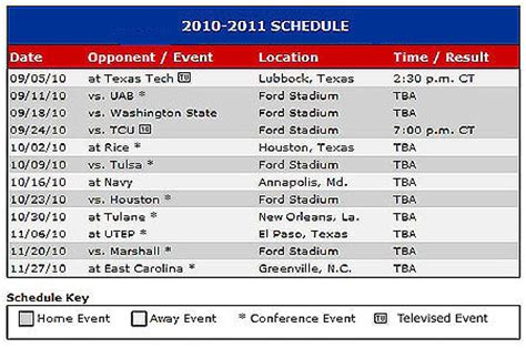 smu mustangs schedule smu mustang football schedule for 2010 announced smu