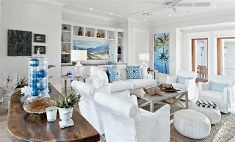home design furnishings decorating a beach house with white and blue colors ideas