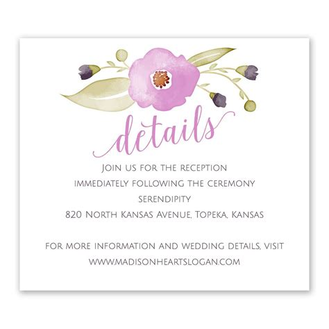 Wedding Invitation Information by Garden Information Card Invitations By