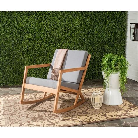 Outdoor Rocking Chairs With Cushions by Safavieh Vernon Teak Brown Outdoor Patio Rocking Chair