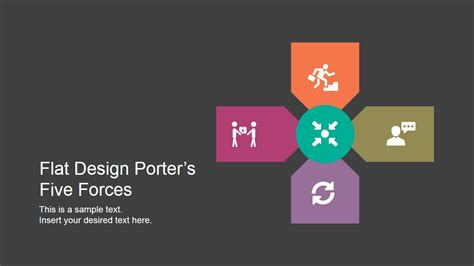 Flat Porters Five Forces Powerpoint Template Slidemodel Porters Five Model Ppt