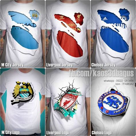 T Shirt Bola Liverpool jual kaos 3d bola chelsea manchester city liverpool
