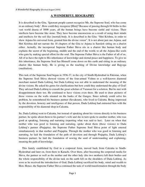 Biography Essays by Biography Essay Introduction Exl