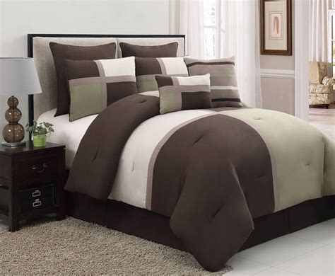 micro suede comforter set 8 pc sage brown beige bed in a bag micro suede queen size