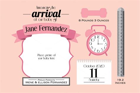 baby announcement photo card templates free baby announcement card template graphics on