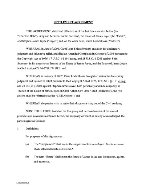 settlement agreement letter template 10 best images of settlement agreement template