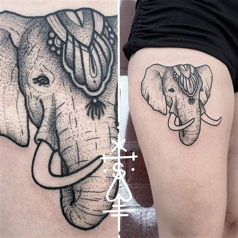 dotwork elephant tattoo 20 elephant tattoos on thigh for girls