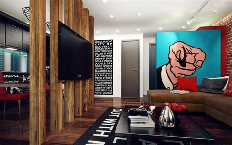 interior design man apartment studio apartment with pop art interior home design and