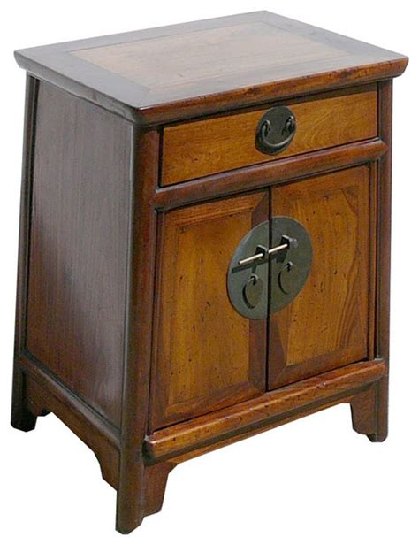 asian accent table nightstand end table chinese ming style brown moon face