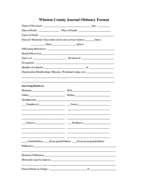 printable obituary template fill in the blank obituary