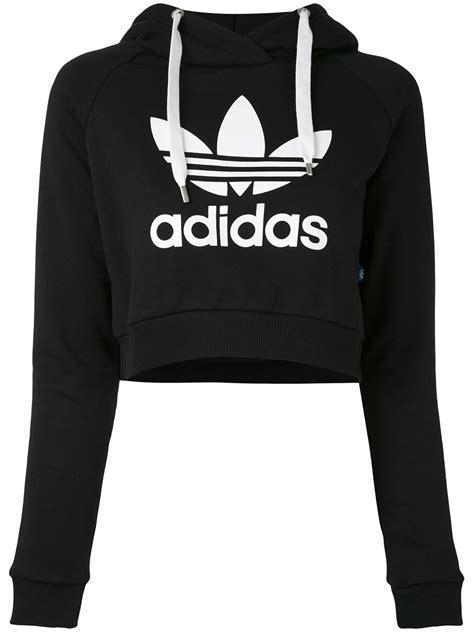 Hoodie Crop Polos Fleece Wanita Size M adidas logo cropped hoodie black clothing tops