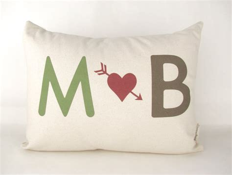 initials pillow gift for him gift for her by doveanddavid